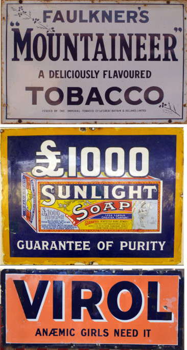 Faulkner's Mountaineer Tobacco+Sunlight Soap+Virol enamel advertising boards