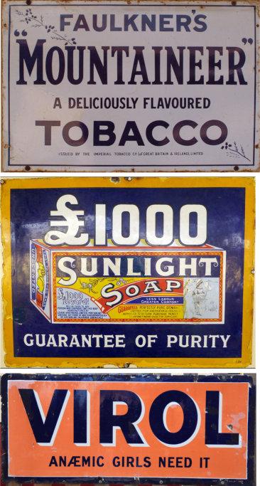 Faulkner's Mountaineer Tobacco+Sunlight Soap+Virol enamel advertising boards