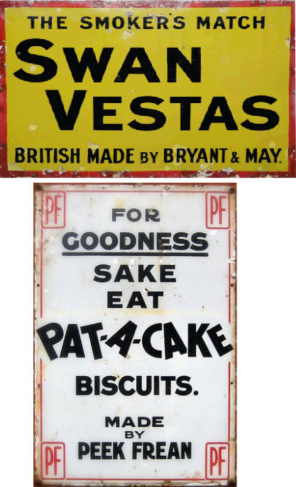Swan Vestas+PatACake enamel advertising boards