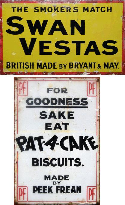 Swan Vestas+PatACake enamel advertising boards