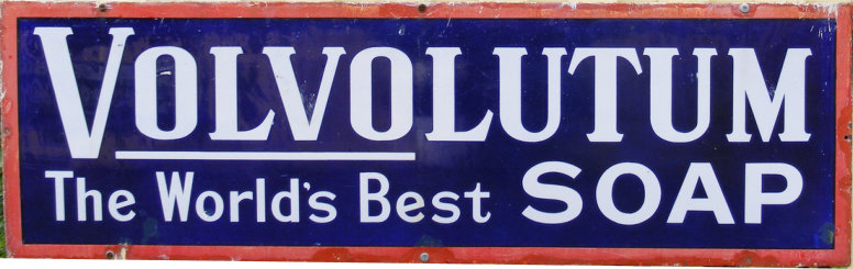 Volvolutum Soap enamel advertising sign - Bluebell Railway Museum