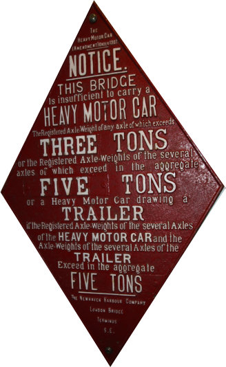 Bridge heavy motor car weight warning