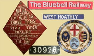 Bluebell Railway signs and plaques on Collection page