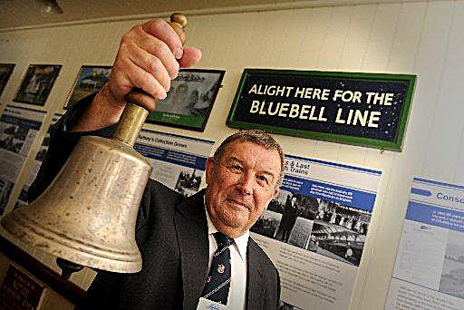 Bluebell Railway Museum Curator with station bell